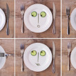 Collection of Vegetable Faces on Plate, various emotions, male a — Stock Photo