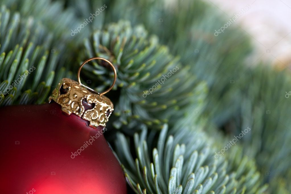 Red Christmas bauble as Advent decoration — Stock Photo #14934435