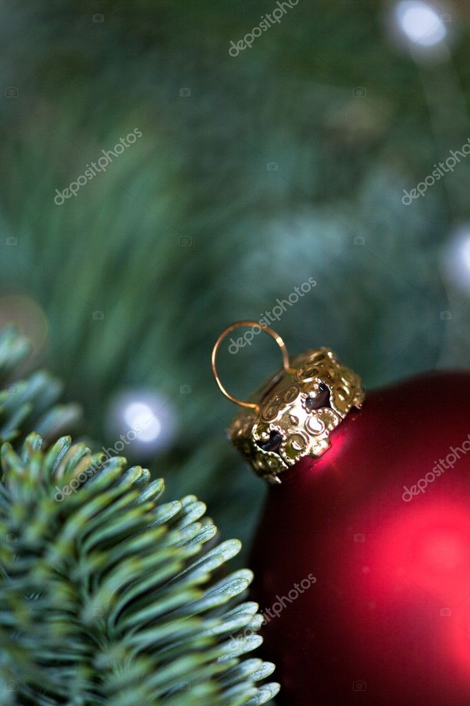 Red Christmas bauble as Advent decoration — Stock Photo #14934487