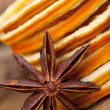 Slices of dried Orange with anise star — Stock Photo