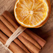 Cinnamon and dried Orange — Stock Photo