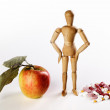 Healthy Apple vs Pills - Stock Photo