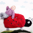 Baby on Ladybug — Stock Photo