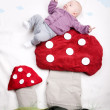 Baby on Mushroom — Stock Photo