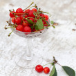Cherries in Glass bowl — Stock Photo