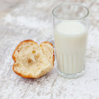 Milk and Brioche - Stock Photo