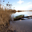 Abandoned rowboats on a lake - Foto Stock