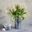 Tulips and Eggs — Stock Photo