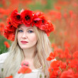 Woman and Poppy Flowers — Foto de Stock