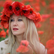Woman and Poppy Flowers — Stock Photo