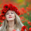 Woman and Poppy Flowers — Foto Stock