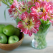 Tulips and Apples — Stock Photo