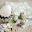 Quail Eggs and Duck Egg — Stock Photo