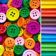 heap of buttons and modeling clay — Stock Photo