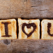 Toasted Love Message — Stock Photo