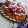 Small french Raspberry Tarte with icing sugar — Lizenzfreies Foto