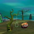 Stock Photo: Green halloween scene