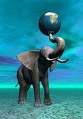 Elephant and earth — Stock Photo