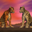 Stock Photo: Two tigers and colorful sky