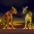 Stock Photo: Two tigers in desert