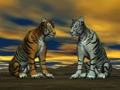 Two tigers and cloudy sky — Stock Photo