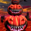 Stock Photo: Pumpkins in halloween scene