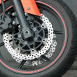 Stock Photo: Front wheel of motorbike