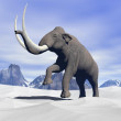 Mammoth in the snow — Stock Photo