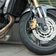 Front wheel of a motorbike — Stock Photo #14936805