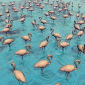 Kudde van flamingo's - 3d render — Stockfoto