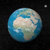 Tierra y luna planetas y estrellas - 3d render — Foto de Stock