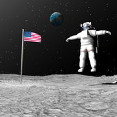First man on the moon - 3D render — Stock Photo