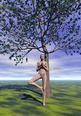 树的姿势,vrkasana-3d 渲染 — 图库照片