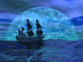Flying dutchman boat by night - 3D render — Stock Photo
