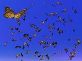 Rendering 3d - migrazione di farfalle monarca — Foto Stock
