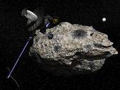 Galileo spacecraft discovering Dactyl orbiting the asteroid Ida — Stock Photo