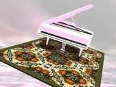 Piano flying on a carpet - 3D render — Stock Photo