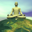 Meditation for the earth - 3D render — Stock Photo