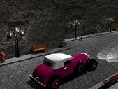 Vecchia automobile in una strada - 3d rendering — Foto Stock