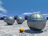Outdoor petanque game - 3D render — Stock Photo