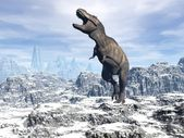Tyrannosaurus in the snow - 3D render — 图库照片