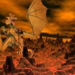 Dragon flight - 3D render — Stock Photo