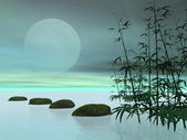 Asian steps to the moon - 3D render — Stock Photo