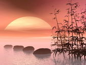 Asian steps to the sun - 3D render — Stock Photo