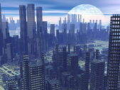 Futuristic city - 3D render — Stock Photo