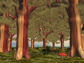 蘑菇中森林-3d 渲染 — 图库照片