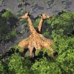 Постер, плакат: Giraffes and trees 3D render