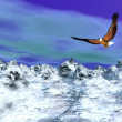Eagle over snowy mountain - 3D render - Stock Photo