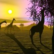 Giraffes by sunset - 3D render — Stock Photo