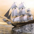 Stock Photo: Old merchant ship - 3D render
